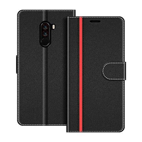 COODIO Handyhülle für Xiaomi Pocophone F1 Handy Hülle, Xiaomi Pocophone F1 Hülle Leder Handytasche für Xiaomi Pocophone F1 Klapphülle Tasche, Schwarz/Rot
