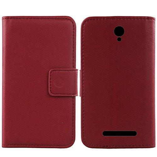 Gukas Design Echt Leder Tasche Für Archos Access 50 Color 3G Hülle Lederhülle Handyhülle Handy Flip Brieftasche mit Kartenfächer Schutz Protektiv Genuine Premium Hülle Cover Etui Skin (Dark Rot)