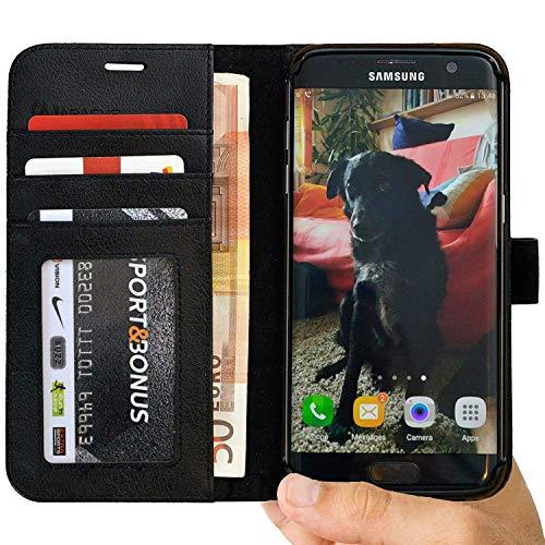S7 Edge Hülle [Abacus24-7] Leder-Tasche Galaxy S7Edge Handyhülle RFID Schutzhülle [Schwarz] kompatibel mit Samsung Galaxy S7 Edge Handytasche Brieftasche GalaxyS7 Edge Klapphülle [Case Flip-Cover]
