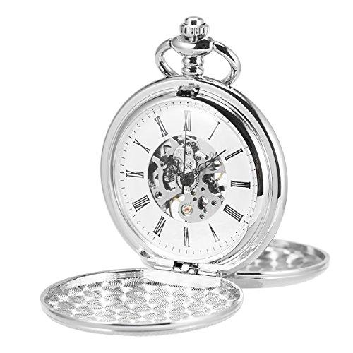 ManChDa Unisex Taschenuhr mit Kette Analog Handaufzug Retro Doppelabdeckungen Skelett Silber Uhrwerk