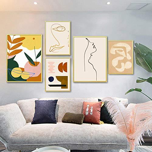 VVSUN Moderno Abstracto escandinavo Lienzo Pintura Cartel e Impresiones galería Arte de Pared imágenes para Sala de Estar decoración del hogar 30X40cmx3 50X70cmx2 sin Marco