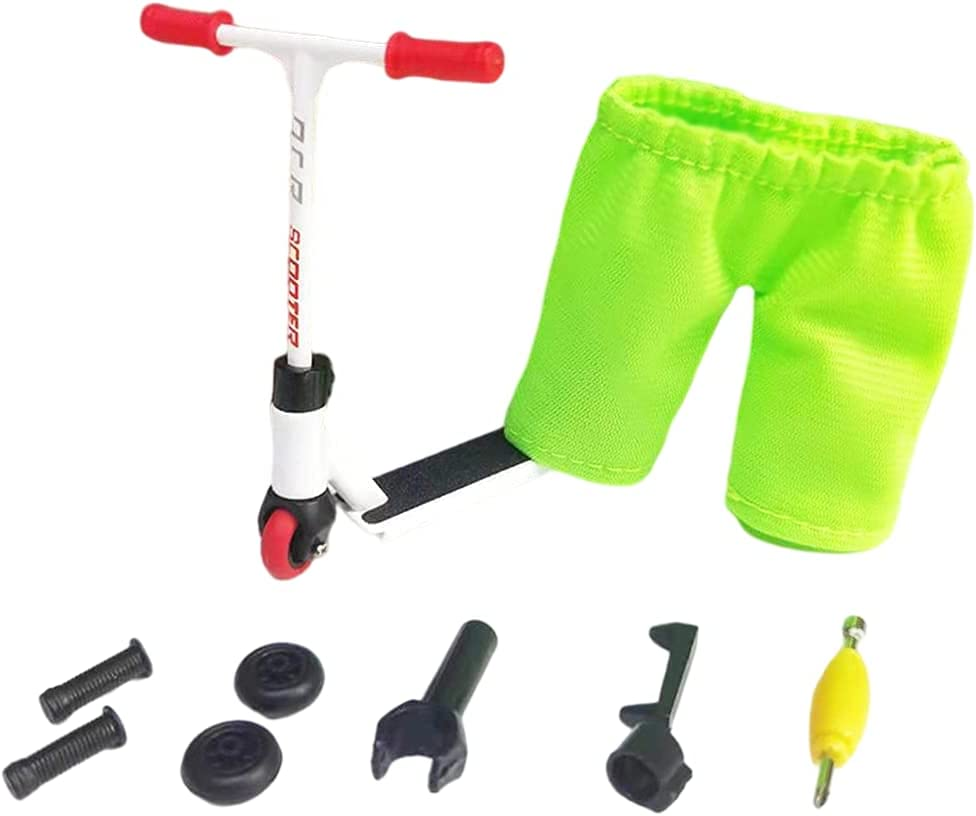 Finger Scooter Set Interactivo Finger Toy Mini Scooters Herramientas y Finger Scooter Skateboard Accesorios Finger Scooter para Skateboarder (Verde)