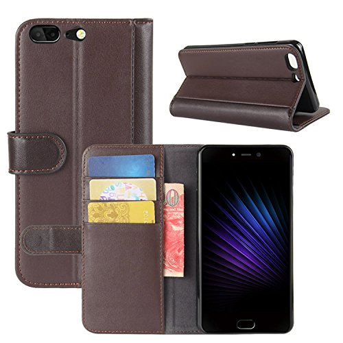 HualuBro Leagoo T5 Hülle, [All Aro& Schutz] Echt Leder Leather Wallet Handy Tasche Schutzhülle Hülle Flip Cover mit Karten Slot für Leagoo T5 Smartphone (Braun)