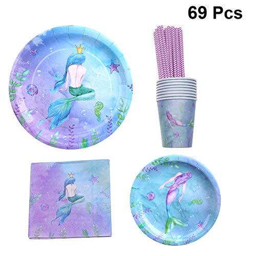 Amosfun 69stks Zeemeermin Party servies Set Papier Platen Cups Rieten Tissue Napkin Dinnerware voor Zeemeermin Thema Kids Verjaardag benodigdheden