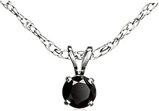 Dazzlingrock Collection Round Cut Black Diamond Ladies Solitaire Pendant (Chain Included), Sterling Silver