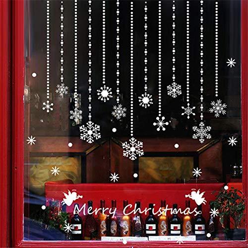 PROKTH Sticker geant mural Sticker mural cuisine Stickers salon Decoration chambre - pour enfants garcon fille - Décoration de noël Flocon de neige Blanc 1 set