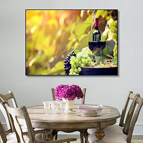Pintura al óleo Taza de vino tinto botella lienzo pintura pared imágenes artísticas Bar comedor cocina Bar decoración moderna decoración del hogar cartel 40x60cm