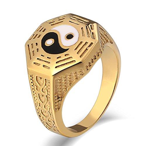 Daesar Anillo para Hombres Anillo de Acero Inoxidable Oro/Plata Yin Yang Tótem Ancho 15 MM Retro Anillo de Compromiso
