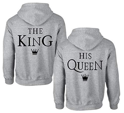 King Queen Pullover Set Partner Tops Couple Pulli Pärchen Hoodie Mr Mrs Partnerlook Kapuzenpullover für Paar Liebespaar (Grau - King - 1 Stück, L)