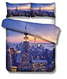 Sticker Superb Housse de Couette de Luxe Moderne Ville Modèle New York Hong Kong Sydney Paris Houston Toronto Scène de Nuit Microfibre Parures de Lit, Single (New York, 140_x_200_cm)