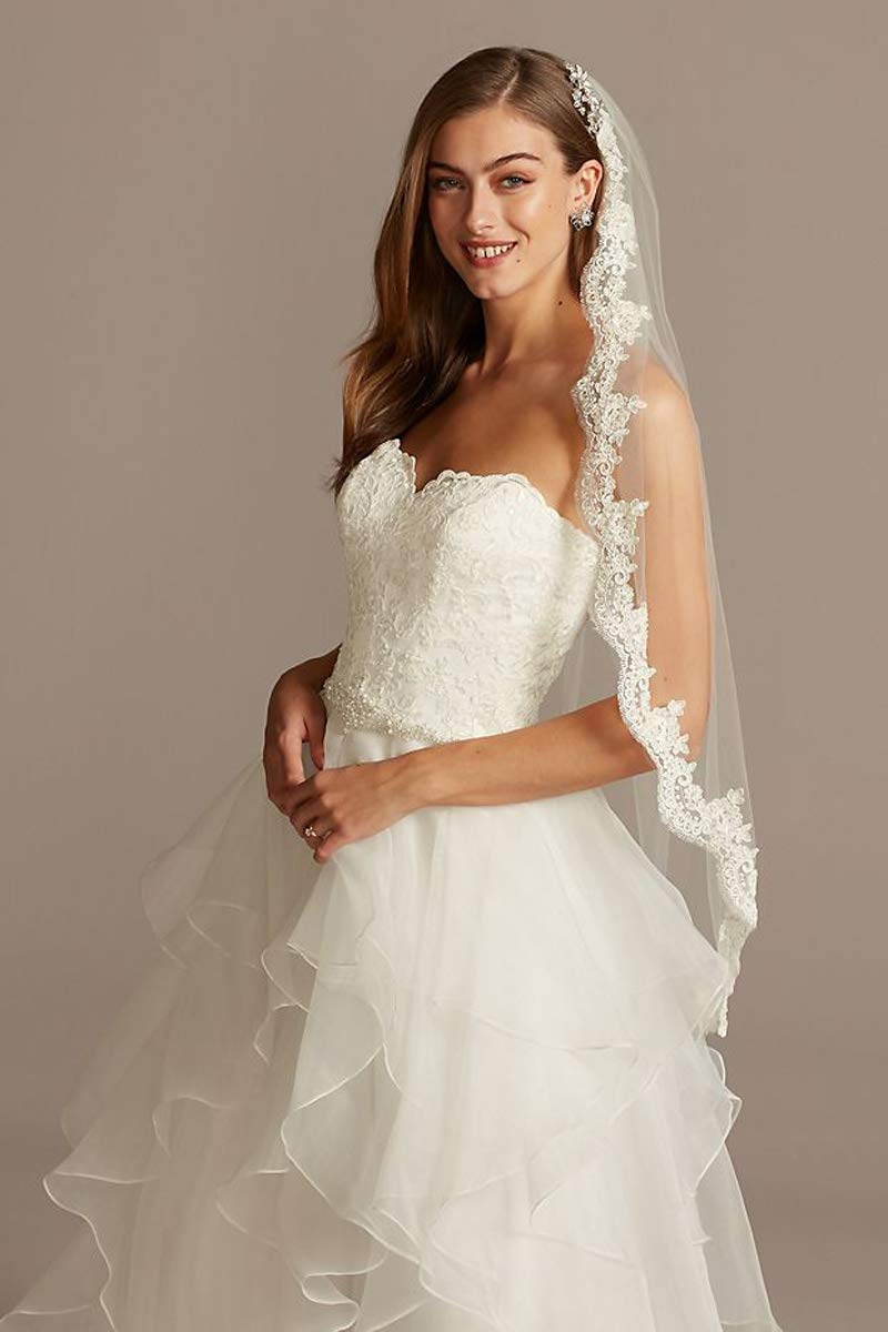 Passat 1Tier Ivory Soft Tulle Fingertip Lace Bridal Veil with Scalloped Lace crystals wedding veils for brides118
