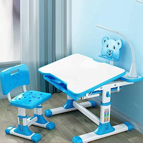 JW-LYYX Kids-Schreibtisch und Stuhl-Set, höhenverstellbare antireflektierende Kinderstudentabelle mit Augenschutzlicht/Kipp-Augenschutztisch,Blau