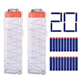 Hosim 2 Pack 18-Dart Quick Reload Clips Magazine with Extra 20pcs Blue Darts, Best Replacement Magazine Kits for Nerf Toy Gun