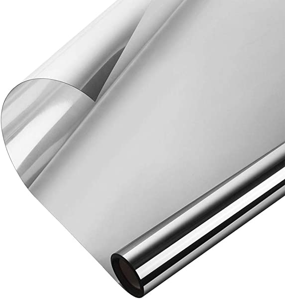 WochiTV One Way Window Film Privacy Window Tint For Home UV Blocking Mirror Reflective Heat Control Glass Film Non Adhesive Static Cling Daytime Privacy Protection Silver 35 4In X 32 8Ft
