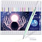 Gold Silver White Gel Pen Set for Artist, Ohuhu 10 Colors (20 Pack) Gel Ink Pens, White Pens for Highlighting on Markers Colored pencils Watercolor Paintings, Gel Paint Pens for Mother's Day Gift