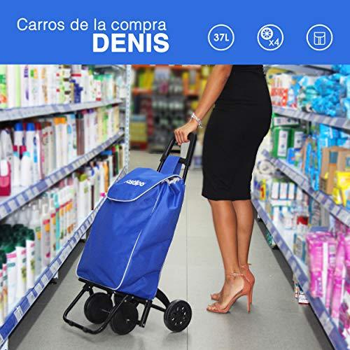 Bastilipo Denis Folding Shopping Trolley with Four Wheels, 37 Litres Capacity, Black