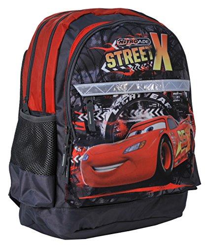 Ragusa-Trade Disney Cars Lightning McQueen Rucksack Kinderrucksack (DAE) mit Hauptfach und Nebenfach Getränkenetz, 42x29x17 cm, schwarz/rot