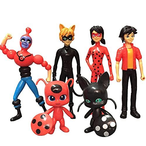 Ladybug Cupcake Toppers, FANDE 6PCS Ladybug Figuras Set Naruto Happy Birthday Party Supplies Decoraciones