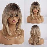 Femmes synthétique perruques longues lignes droites en couches Coiffure Ombre Noir Brun Blond Cendre pleine perruque avec une frange (Color : LC242 2)