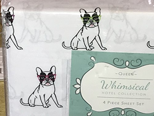 Whimsical QUEEN SIZE Dogs Sheet Set (FRENCH BULLDOGS/BOSTON TERRIER) dogs with glasses