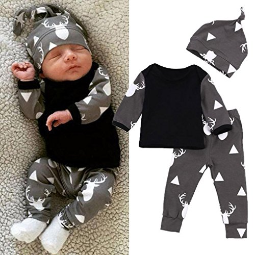 FEITONG Newborn Toddler Baby Boy Girl Deer Tops T-shirt+Pants Leggings 3pcs Outfits Set (6 Months, Black)