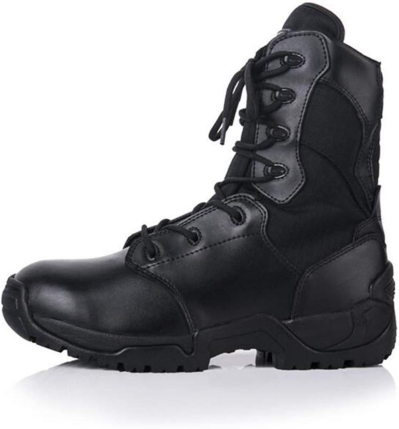 Y-H Mens Women's Casual shoes,leather High-top Outdoor Combat Boots,Comfort Breathable Climbing Sneakers,Tooling Boots,Military Boots (color   Black, Size   45)