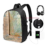 Usicapwear Backpack,Letterpress Natural Old Texture Backdrop Writing Symbol Timeworn Design Typography
