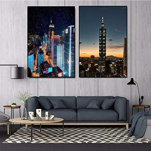 VVSUN Pintura de Lienzo Moderna Arquitectura de la Ciudad Escena Nocturna Arte de la Pared Cuadros de construcción Pinturas para la decoración del hogar; 50x70cmx2 (sin Marco)