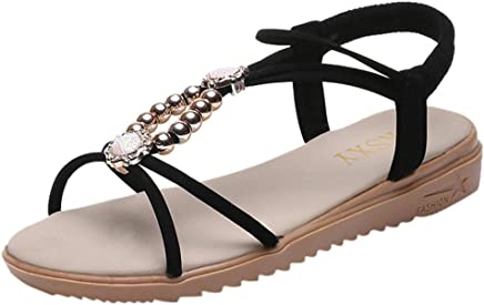 Ladies Casual Summer Thong Comfy Fashion Elegant Flat Toe Post Shoes Flip Flops Yudesun Womens Rhinestone Roman Beach Sandals
