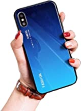 IPAKY iPhone Xs MAX XR Apple iPhone Xs Max Crystal Glass Bumper Soft TPU Cover Case for iPhone XR (6.1') XS MAX (6.5') (Ocean Blue, XS MAX (6.5'))