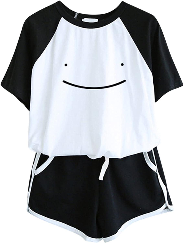 Leirke Women's Cartoon Graphic Cute Shorts Pajama Set Short Sleeve Crewneck Tops and Striped Shorts Lounge Set Sleepwear