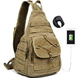 Canvas Sling Bag Chest Crossbody Backpack Messenger Travel Bag for Men Outdoor