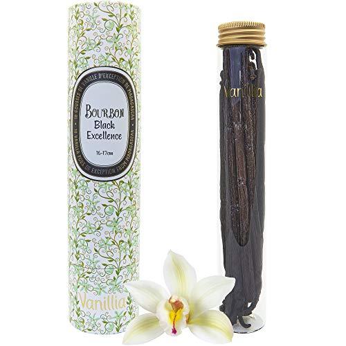 Vanillia ? 15 Gousses Délicieuses de Vanille BOURBON BLACK GOURMET de Madagascar ? Le meilleur de la Récolte ? Tube en Verre + Tube en carton de protection ? Idée Cadeau Originale