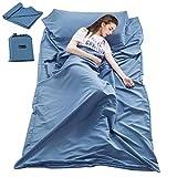 Sleeping Bag Liner Travel Camping Sheet Lightweight Hotel Compact Sleep Bag Sack (82.7 X 63 Inch, Blue)