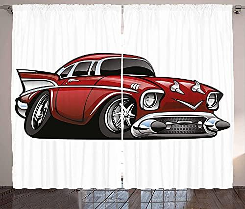 LKCD Cortinas Cocina Largas Clásico Retro Americano Coche Vintage Ruby 200X160Cm Modernas Cortinas Aislantes Termicas 2 Piezas 3D Patrón Cortinas Infantiles Habitacion Opacas con Ojales