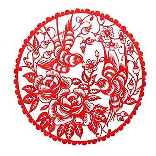 Chinees-Stijl Papier Gesneden Raam Bloemen en Vogels Woonkamer Decoratie Schilderen Chinese karakteristieken Geschenken