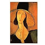 Amedeo Modigliani Old Famous Master Artista Cabeza de una Mujer Lienzo Arte de la Pared Pintura Póster Cuadros Impresas para la Decoracion de la Pared de la Salon de Estar Sin marco-70x90cm