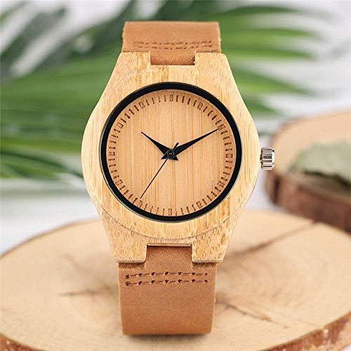 DZNOY Reloj de madera minimalista de madera señoras relojes de cuero banda de cuarzo de madera de bambú relojes de pulsera de las mujeres elegante reloj de bolsillo de regalo
