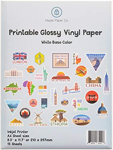 Papier Hayes, Papier Autocollant Brillant Blanc en Vinyle pour Imprimante à Jet d'encre, 15 Feuilles Premium en Vinyle Imperméables, Format A4
