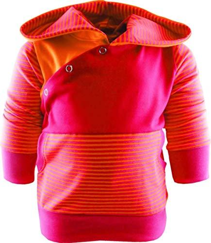 gestreiftes Baby/Kinder Kaputzen Langarm Hoodie Shirt mit Bauchtasche (Farbe orange-Fuchsia/pink) (Größe 122/128)
