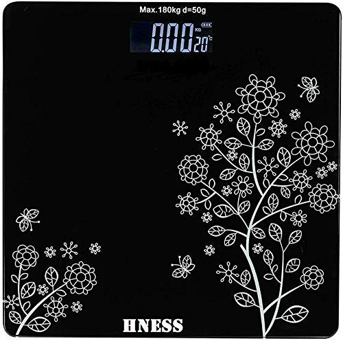HNESS Thick Tempered Glass LCD Display Digital Personal Bathroom Health Body Weight Weighing Scales For Body Weight, Weight Scale Digital For Human Body (Flower Design Bathroom Scale)
