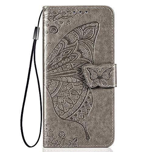 ALAMO Schmetterling Hülle für Samsung Galaxy A32 5G, Premium PU Leder Handyhülle mit Kartensteckplätze - Grau