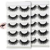 Hually Pestañas Postizas, 10 Pares de 3D Gruesa Pestañas Falsas Largas, Puro Hecho a Mano Reutilizable,Natural Pestañas Falsa Largas Gruesas Maquillaje de Ojos para Fiesta de Boda
