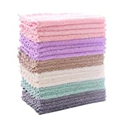 #LightningDeal 24 Pack Kitchen Dishcloths - Does Not Shed Fluff - No Odor Reusable Dish Towels, Premium Dish Cloths, Super Absorbent Coral Fleece Cleaning Cloths, Nonstick Oil Washable Fast Drying (Multicolor)