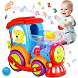HISTOYE Toddler Train Developmental Toys for 1 2 3 Year Old Boy Girl Gifts Drop and Go Toy Baby Train with 3 Popper Ball Music Light Baby CarToys Educational Learning Toys for 12 18 24 Months