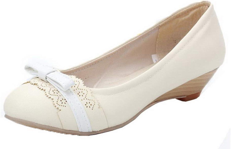 AmoonyFashion Women's Round-Toe Low-Heels Pu Assorted colors Pumps-shoes, BUSDT001902