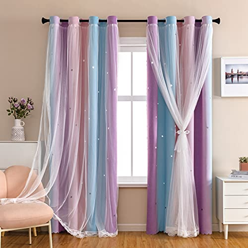 Dream Star Blackout Curtains for Kids Rooms Girl Princess Curtain for Daughter Bedroom Window (Pink Purple, W52 X L63)