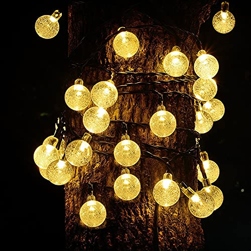 Guirnalda Luces Exterior Solares, LED Cadena de Luces Impermeable 8 Modos de Iluminación, Luces Navidad Solar, Para Decoración, Hogar, Jardín, Arboles, Patio, Bodas (2.5cm/warm white,12m/100LED)