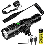 2 in 1 L2 LED Flashlight with Picatinny Rail Mount - 5 Modes 3000 Lumens Bright Flashlight USB Rechargeable Waterproof Scout Light Torch Light (Battery Include)