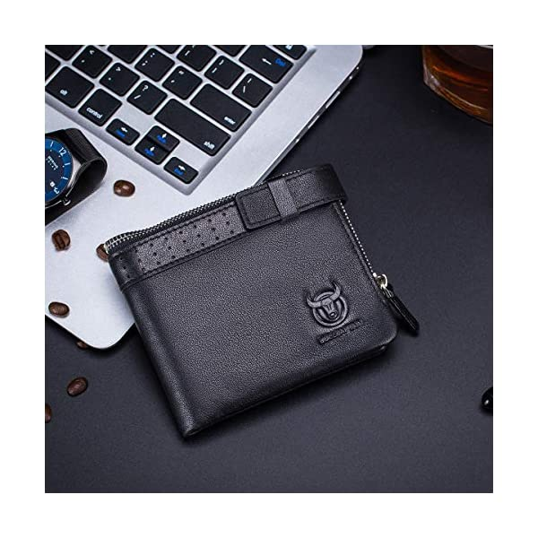 BULLCAPTAIN Genuine Leather Mens Wallet Bifold Large Capacity RFID Blocking Travel Wallet with Zip Pocket QB-059 2